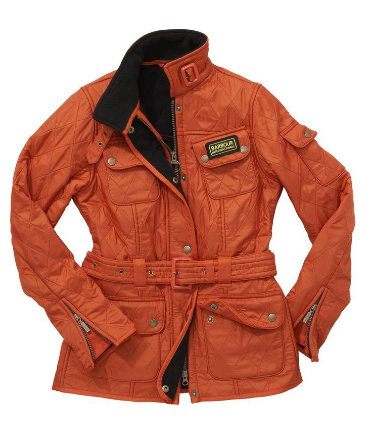 Ladies Barbour International Quilt Jacket Orange