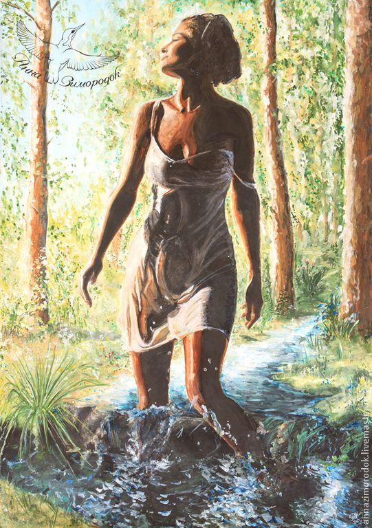 """Купить Фотокартина """"Богородица"""". Авторская репродукция на фотохолсте - Анастасия, богиня, картина, природа, женщина, мать"""