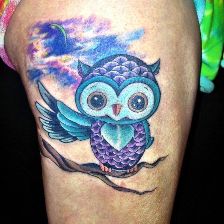 Cute Flower Stomach Owl Tattoo photo - 5