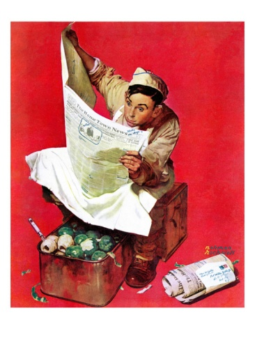 """Willie Gillis on K.P"", April 11,1942 Giclee Print by Norman Rockwell at Art.com"