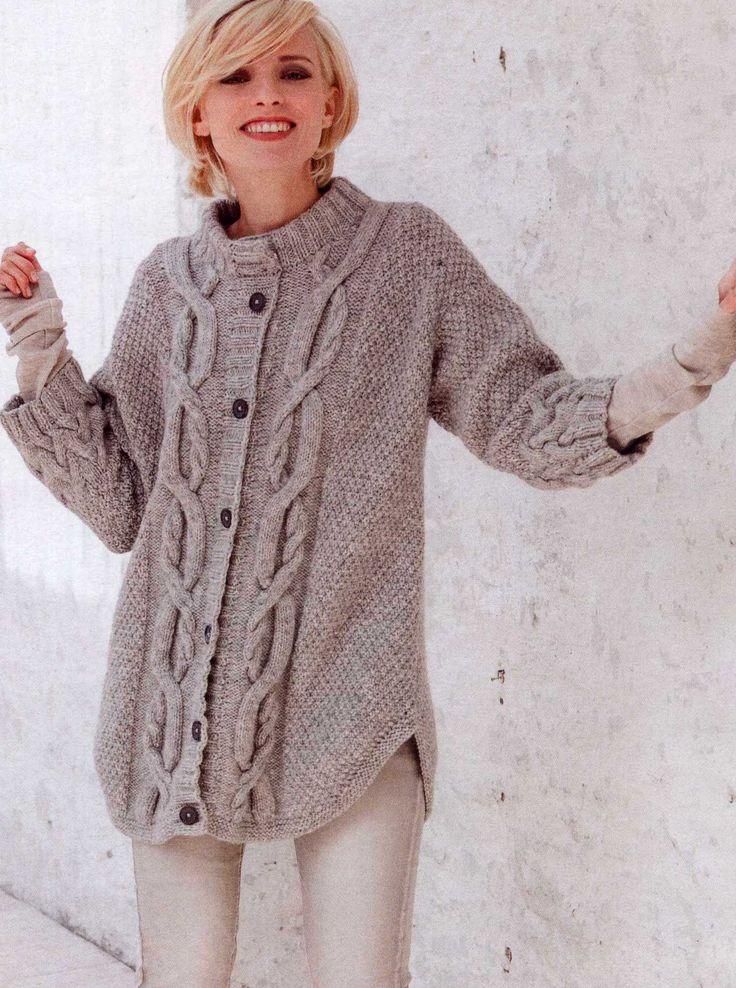 Вязание крючком и спицами - Жакет с узором плетеная коса