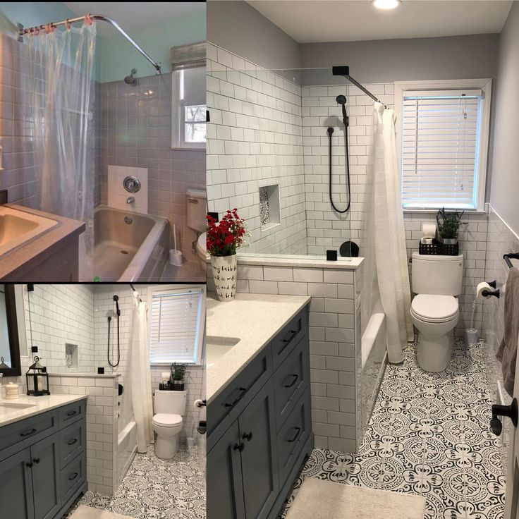 Wall Tile - Artic White subway 3x6 w/ silver grout. Floor ...