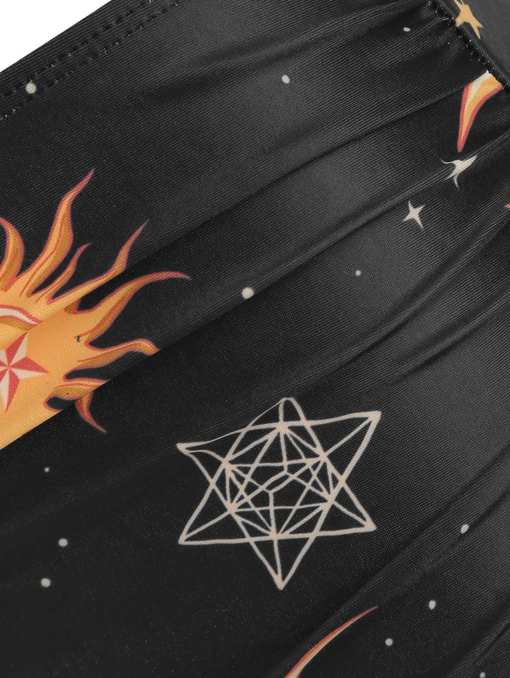 Sun and Moon Printed Overlay Tankini Swimsuit