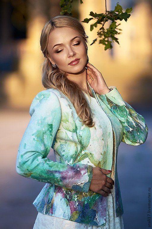 Купить Жакет Мятная свежесть- войлок - мятный, цветочный, жакет из войлока, жакет валяный