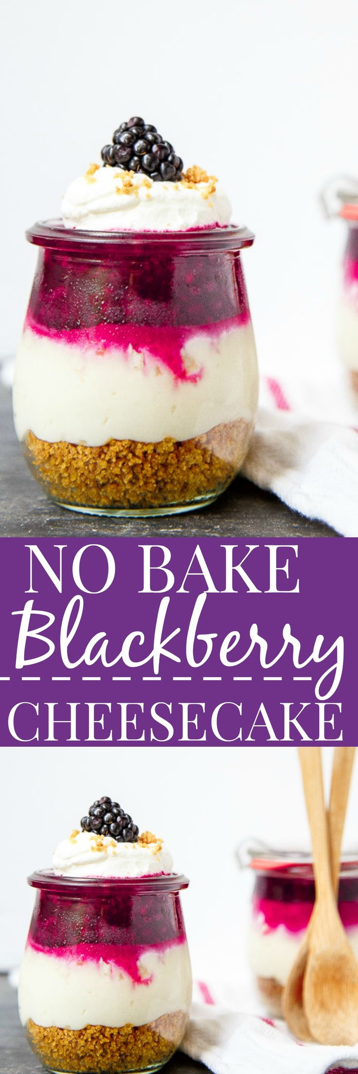 No bake cheesecakes in jars! Easy portable dessert idea for summer picnics. @DessertForTwo