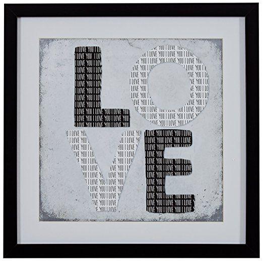 Modern Black and White LOVE Word Art, Black Frame, 14\
