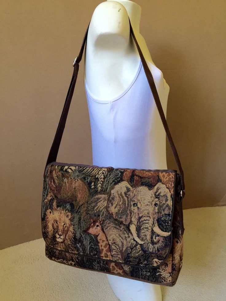 Animal Print Tapestry Fabric Messenger Bag by EverSewNice on Etsy