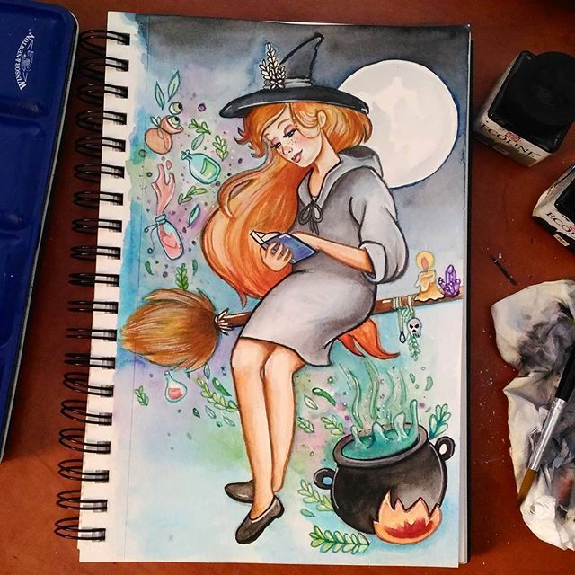 Witch #witch #witchtober #inktober2016 #inktober #halloween #art #artist #artsupplies #draw #drawing #drawingoftheday #drawings #illustration #illustrationartists #sketch #sketchbook #artist #desenho #portugal #orange #dark #painting #greenhair #fantasy #imagination #watercolor #watercolorpainting