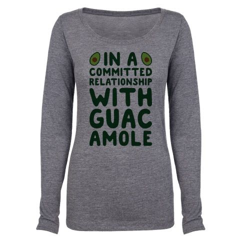 """Share your single status and love for guacamole with this food humor, relationship status design featuring the text """"In A Committed Relationship With Guacamole"""" with avocados! Perfect for food jokes, guacamole jokes, single humor, and single jokes!"""