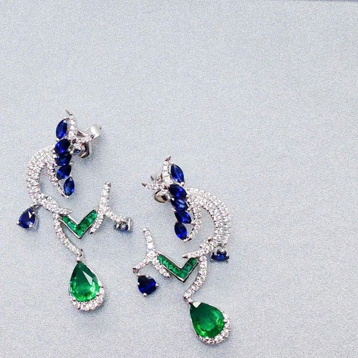 """Feel like Royalty in these Imperial Crest #Earrings with #Sapphires, #Emeralds and #Diamonds…"""