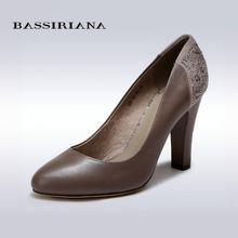 BASSIRIANA - женские туфли из натуральной кожи, высокий каблук, удобная колодка, круглый носок, в коже и замше, несколько расцветок, размеры 35-40, бесплатная доставка(China (Mainland))