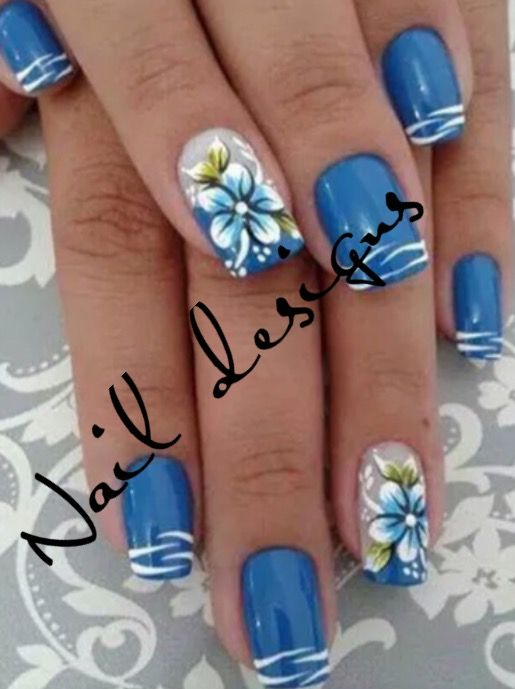 Hope you guys like my blue flower nails