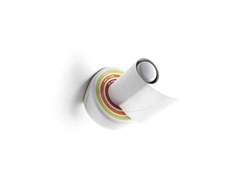 """Ironico cartometro in ceramica per misurare il livello della carta igenica avvisando quando è arrivato il tempo di farne scorta. / Ironic decorate toilet roll holder to measure the toilet paper, warning when it came time to stock up. Tre Livelli: Relax, Don't Panic! E il terzo, è proprio il caso di dirlo e di correre ai ripari, oh Shit! Three levels: """"Relax"""", """"Do not Panic!"""" and at the third level, it is appropriate to say and run for cover, """"oh shit!""""."""
