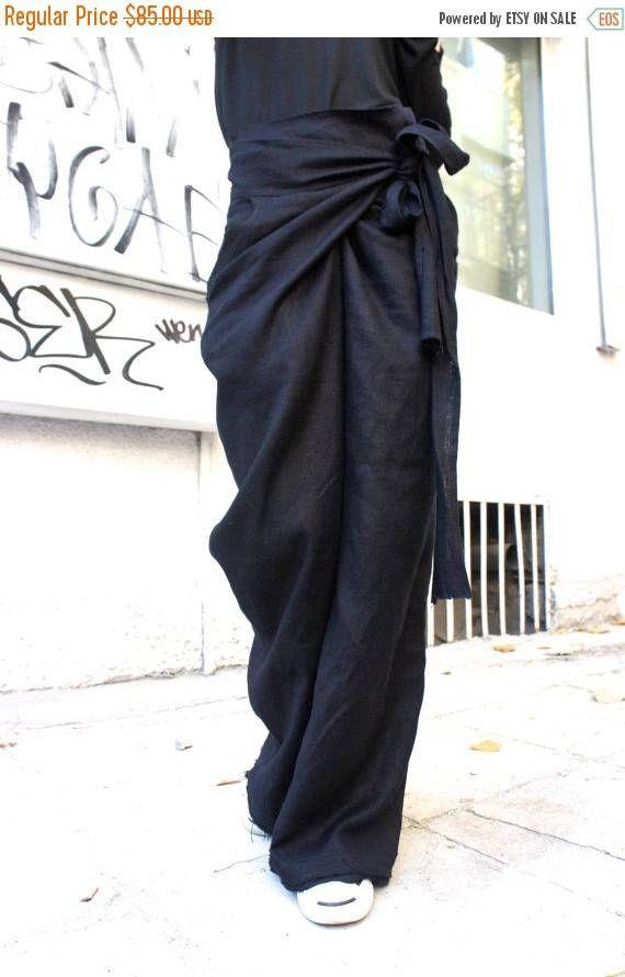 VERKOOP losse linnen zwart broek / wijd been broek herfst
