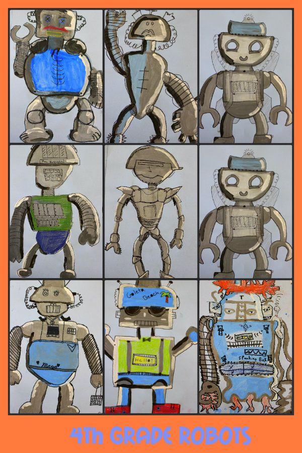 robots-- did these with pencil shading this year with 2nd and 4th.  The tempera looks like it would be really fun!