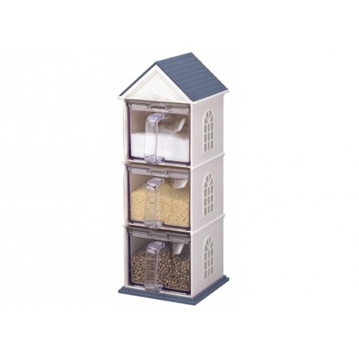 Simpaticissima casetta in plastica a tre cassetti per conservare spezie o cereali, in offerta a 34,64€.  #casettaportacereali #portacereali #dispenser #colazione #homedecor #breakfast #breakfastfood #contenitori #cornflakes #spices #fiocchidiavena #casetta