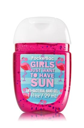 Girls Just Want To Have Sun - PocketBac Sanitizing Hand Gel - Bath & Body Works - Now with more happy! Our NEW PocketBac is perfectly shaped for pockets & purses, making it easy to kill 99.9% of germs when you're on-the-go! New, skin-softening formula conditions with Aloe & Vitamin E to leave your hands feeling soft and clean.