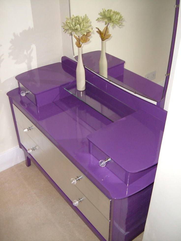1959 Vintage Dressing Table made by 'Lebus' and refinished by Julian of Beaux Intérieurs in gloss purple and silver metal leaf. Also available - matching four drawer chest of drawers.