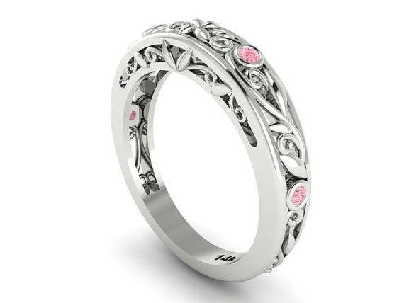Feminine vine and filigree wedding band with light pink sapphires / Garden