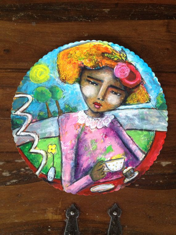 PARKSIDE CAFE Original Mixed Media Painting by YellowRoseDBS