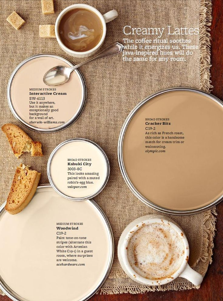 "Creamy Latte Paint Colors - Just like your favorite latte or coffee drink, these paint colors are comforting, yet energizing. Sometimes getting the right hue, like getting the right coffee drink, is a custom job. ""I mix colors to get a perfect cream,"" Los Angeles Designer Mary McGee says. Her favorite ""recipe"": A 50:50 mix of Benjamin Moore's Marble White (OC-34) with Grant Beige (HC-83). ""It cuts the gold, and you end up with this incredible color."""