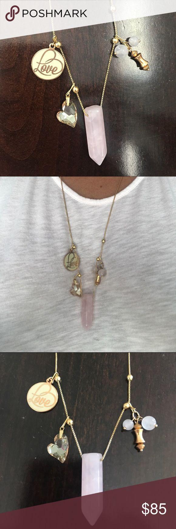 Alex & Ani Rose Quartz Necklace Alex & Ani Rose Quartz Necklace. Include rose quartz necklace with 3 charms. Love, rose quartz dangle, and Swarovski heart. Alex And Ani Jewelry Necklaces