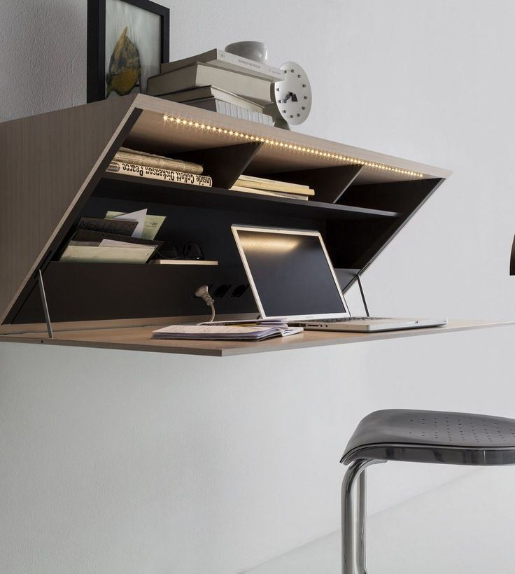 Wooden secretary desk / wall shelf SEGRETO by @moltenidada | #design Ron Gilad