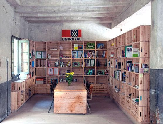 Stack crates for a simple and effective shelf that can grow with your book collection...