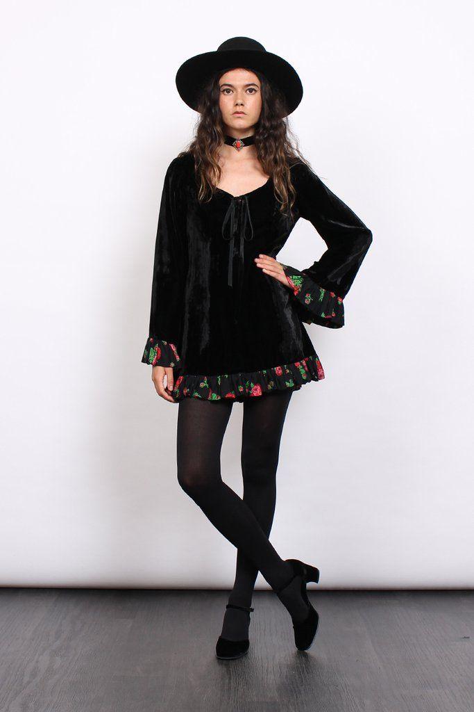 Vintage 60s Black Velvet Roses Lace Up Bell Sleeve Mini Dress