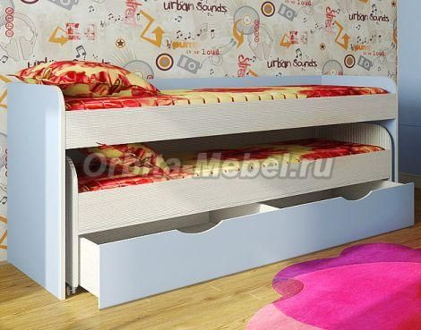 Кровати-чердаки «Фанки Кидз»   Детская комната Фанки Кидз -8 :: Двухъярусная низкая кровать Фанки Кидз-8 с выдвижным ящиком.