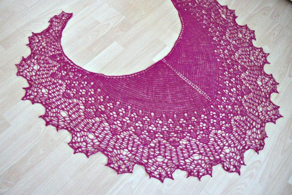 Fuchsia hand knitted lace shawl natural wool evening shawls wraps lace bridesmaid cover up Mother's Day gift for wife ready to ship shawl