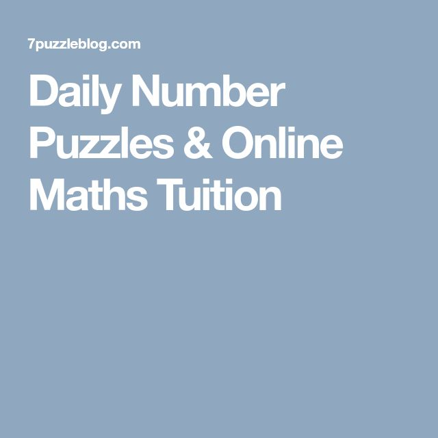 Daily Number Puzzles & Online Maths Tuition