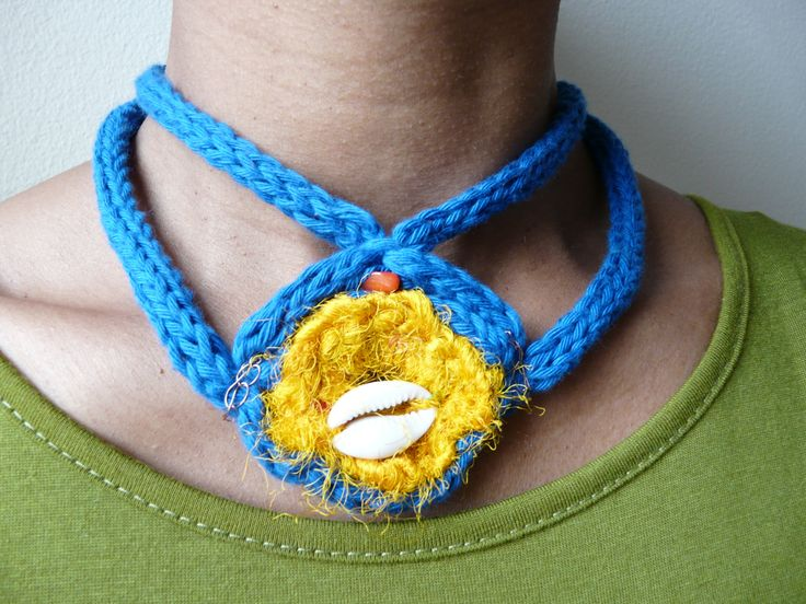OOAK Knitted and crochet indigo blue necklace /// Horus eye necklace made with silk and cotton // by FlowClothing on Etsy