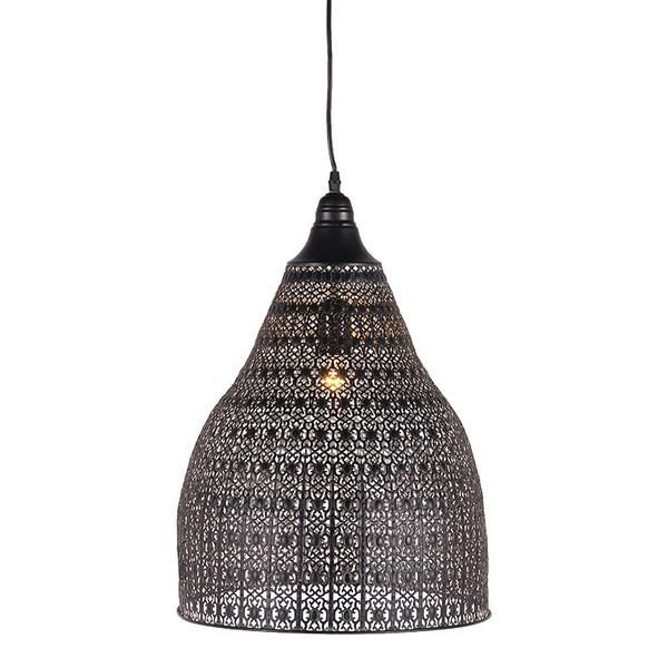 Delicate and moorish .A large hanging pendant lampshade with fine filigree metal work . Comes complete with a long chain.Height Including Chain: 1580mm. Dia:...