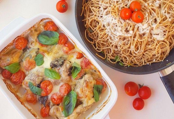 Mediterrán tepsis csirke fokhagymás spagettivel
