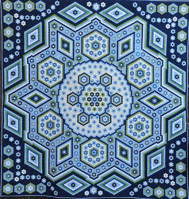 "The Vignette Hexagon Quilt: Finished ""La Passion`s "", link to pattern, and 4 more examples"