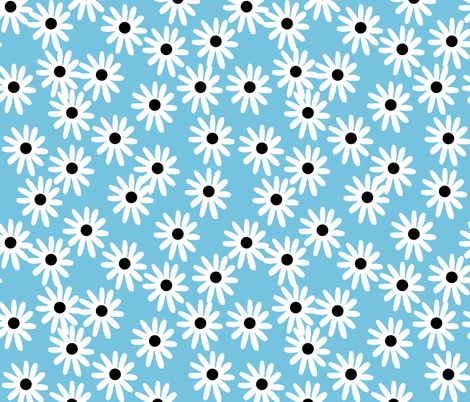 Daisies - Soft Blue/White/Black by Andrea Lauren fabric by andrea_lauren on Spoonflower - custom fabric
