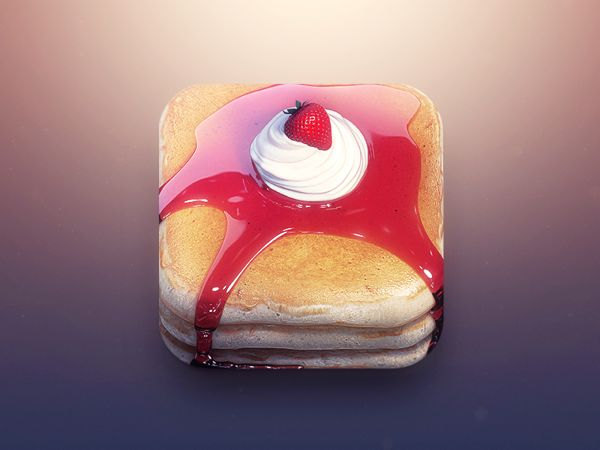 Pancakes App Icon by CreativeDash , via Behance