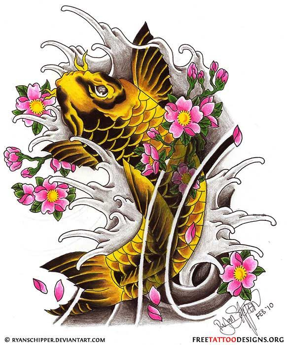 koi fish with cherry blossom tattoos | Koi Fish And Cherry Blossoms Horitoyo Traditional Tattoos