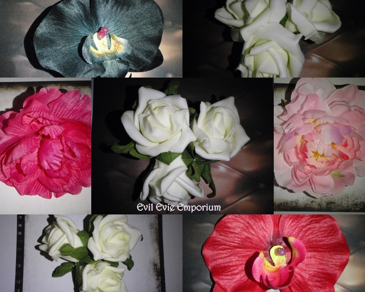 selection of flower hair clips