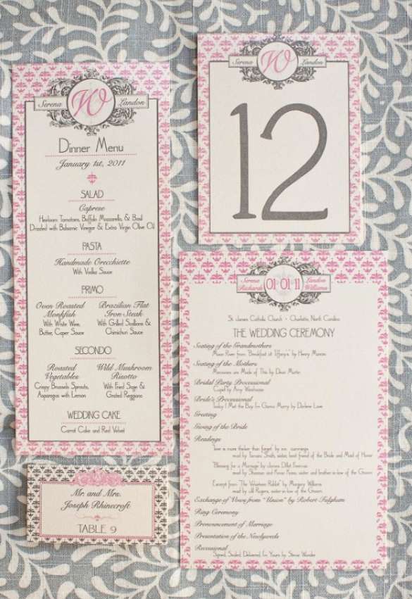 Hampton's Wedding Suite Program, Menu, Place/Escort Card, Table Numbers - Pink, Ivory and Pewter Grey, Customizable. $4.99, via Etsy.