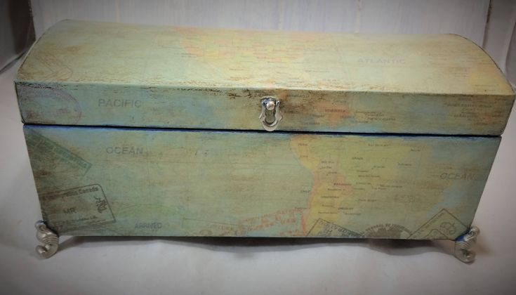 Large Jewelry Box, Treasure Chest with Map Men's Jewelry Box, Vintage Map Jewelry Organizer, Navy Blue Jewelry Storage, Boy's Treasure box by Reimaginations on Etsy
