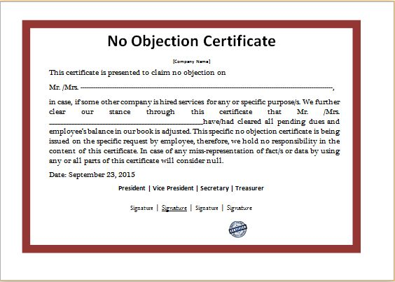 No Objection Certificate Template DOWNLOAD at   www - no objections certificate