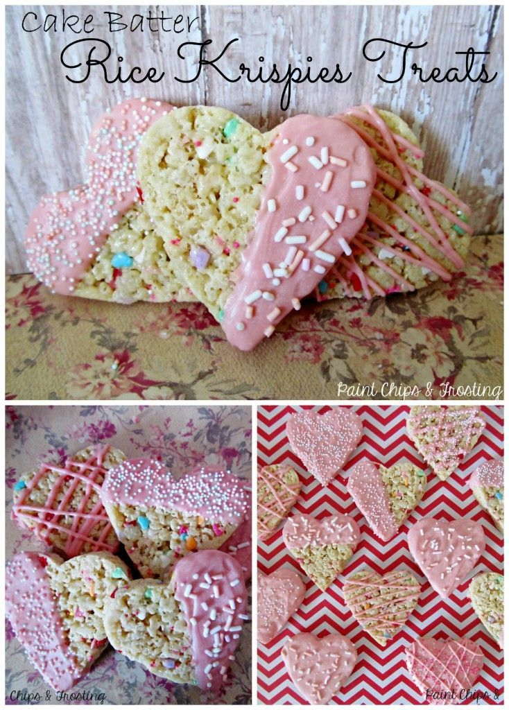 Cake Batter Rice Krispies Treats | paintchipsandfrosting.com Ooey Gooey cake batter marshmallow goodness loaded with sprinkles and cut into hearts