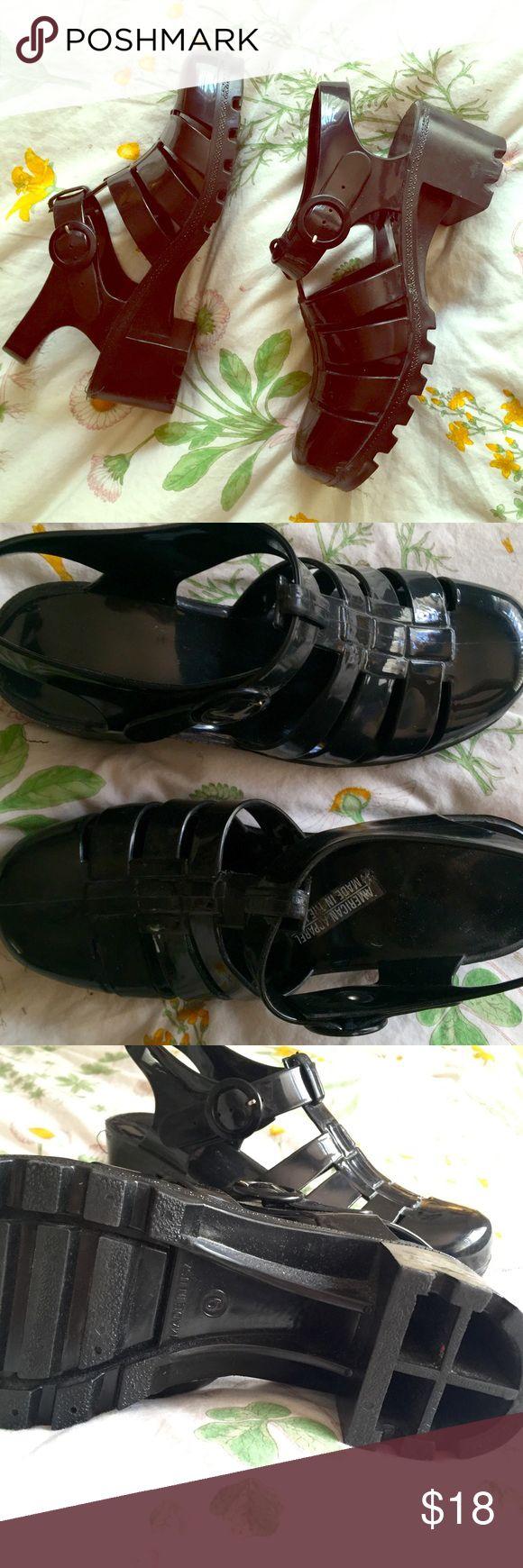 Black jelly sandals american apparel - Black Jelly Heel Shoe American Apparel