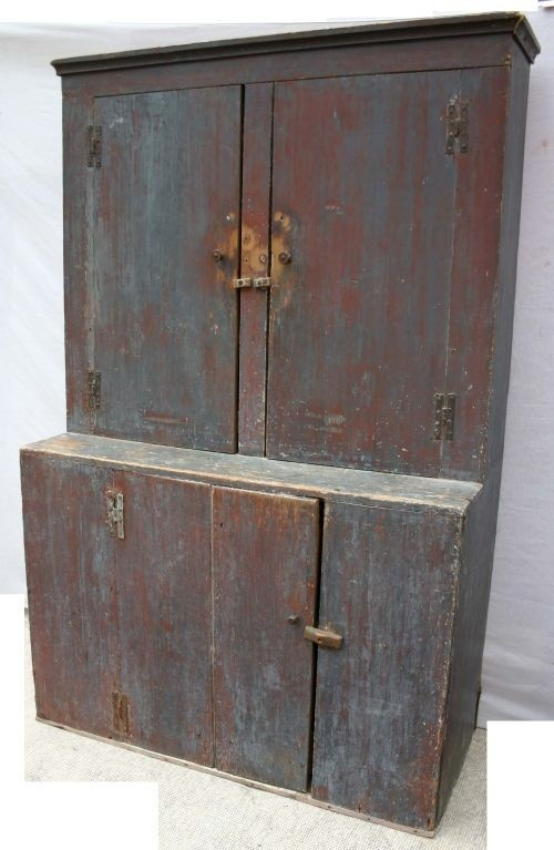18th C CT stepback cupboard in old (ca 1820) blue p. Primitive Painted  FurniturePrimitive CabinetsCountry ...