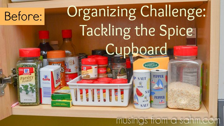 Organizing Challenge: Tackling the Spice Cupboard - #kitchen #organizing #tips #spices #pantry via Musingsfromasahm.com