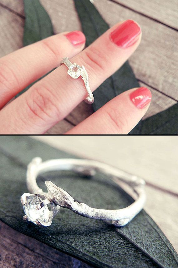 Twig ring twig engagement ring promise ring elf ring by MisMundos