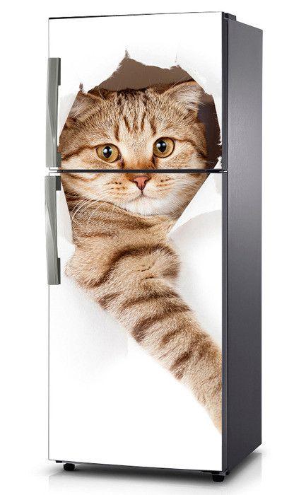 Naklejka na lodówkę - Miły kotek