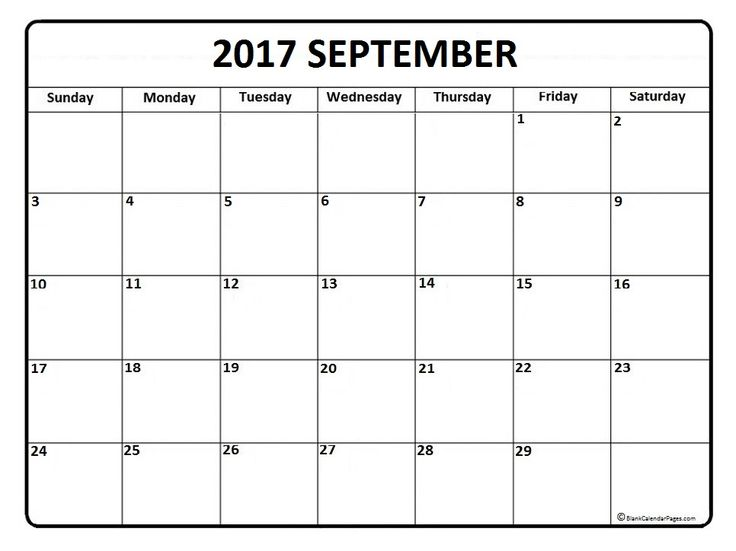 September calendar 2017 printable and free blank calendar - blank calendar pdf